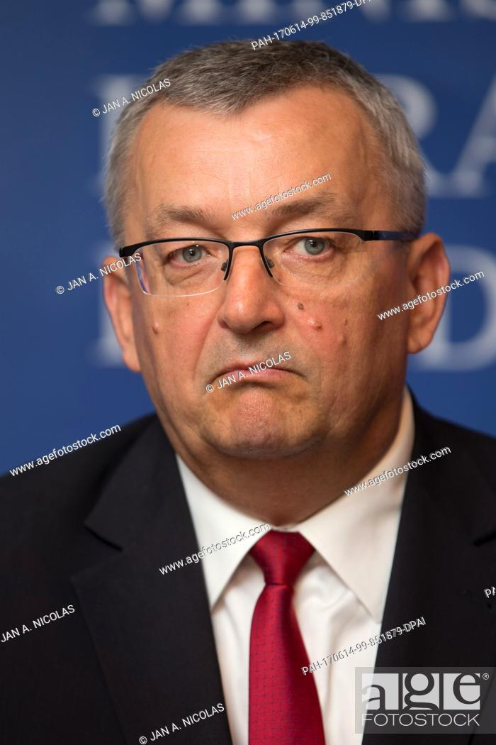Stock Photo: Polish Minister of Infrastructure, Andrzej Adamczyk speaks during a press briefing held on occassion of the conference Development of Polish Railways while.