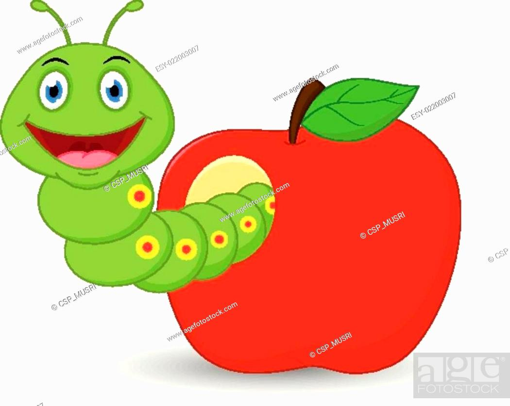 Cute Worm Cartoon In The Apple Stock Photo Picture And Low