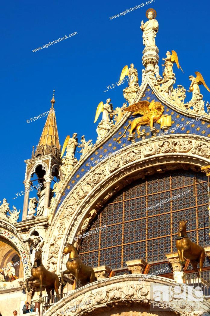 Stock Photo: Front of Saint Marks Basilica - Venice - Italy.