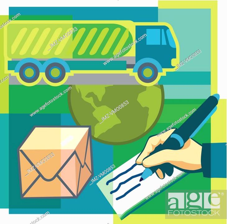 Stock Photo: A montage of a package, hand writing a cheque, the globe, and a semi truck.
