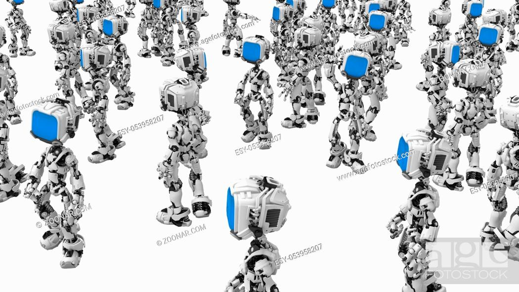 Stock Photo: Small 3d robotic figures, over white, isolated.