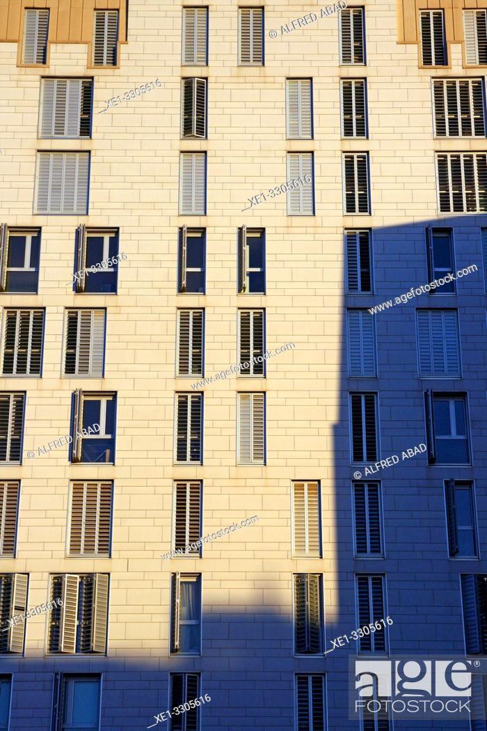 Stock Photo: apartment buildings, Barcelona, Catalonia, Spain.