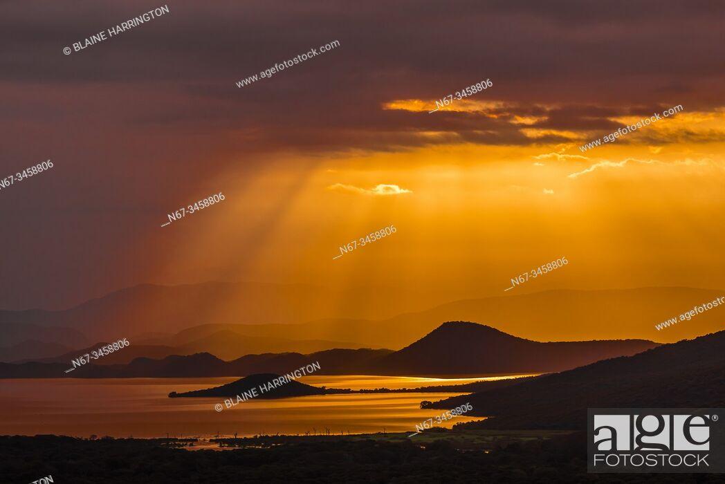 Stock Photo: Sunrise, Lake Abaya, Arba Minch, Ethiopia. One of the two largest Rift Valley lakes.
