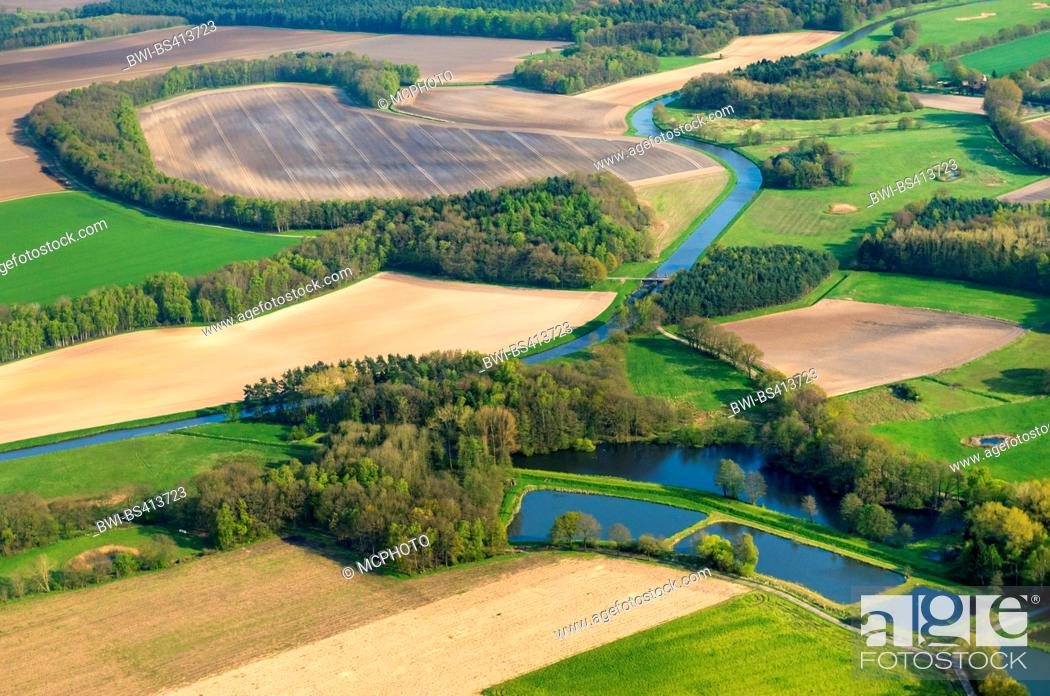 Stock Photo: fishponds Laher Fischteiche, aerial view, Germany, Lower Saxony, Oldenburger Muensterland, Goldenstedt-Lahr.