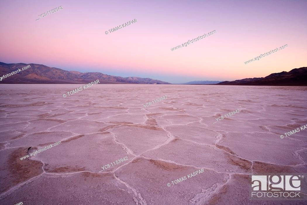 Stock Photo: Sunrise over Badwater, Death Valley national park.