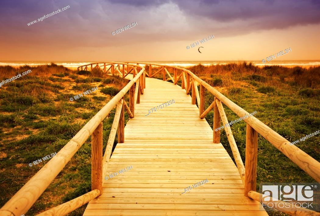 Stock Photo: Wooden boardwalk.