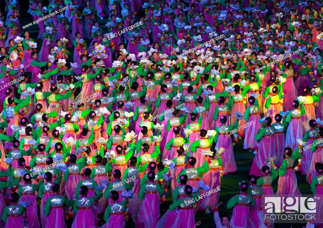Stock Photo: Arirang Mass Game In May Day Stadium, Pyongyang, North Korea.