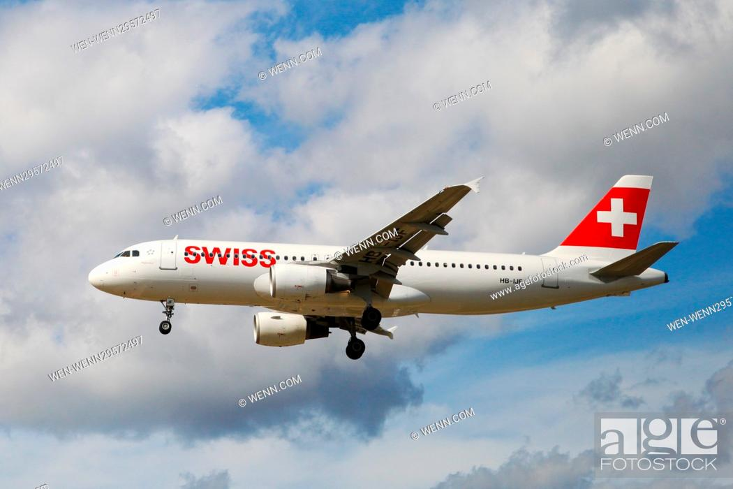 Stock Photo: Aircrafts taking off and landing at Heathrow Airport Featuring: Swiss Airbus A320-214 - 13 Aug 2016 Where: London, United Kingdom When: 13 Aug 2016 Credit: WENN.