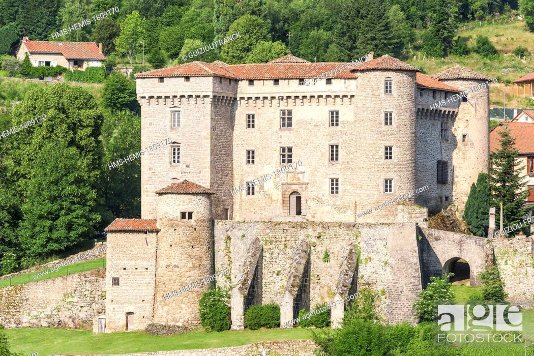 Stock Photo: France, Loire, Chalmazel, village in the heart of Monts du Forez, the 13th century feudal castle.