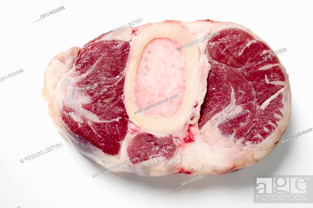 Stock Photo: Slice of beef from the leg, raw.