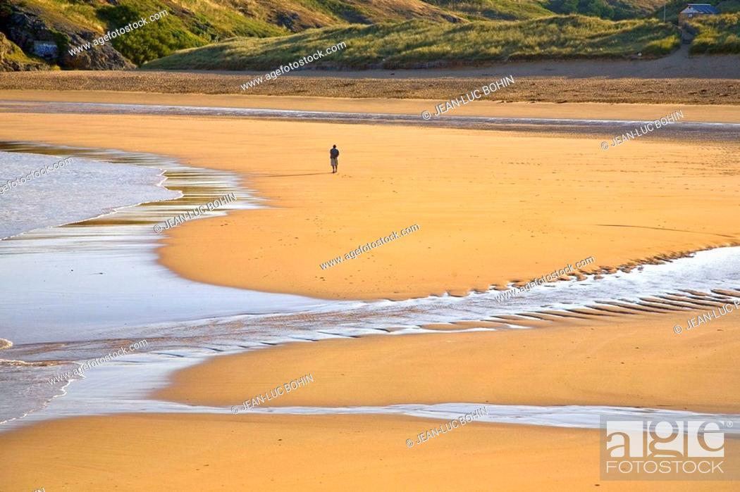 Stock Photo: Brittany, Belle-Ile, wild coast : beach of Donnant.