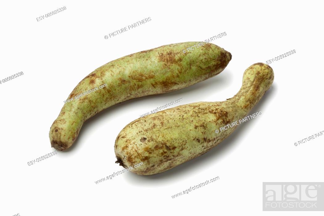 Stock Photo: Fresh Moroccan zucchini on white background.
