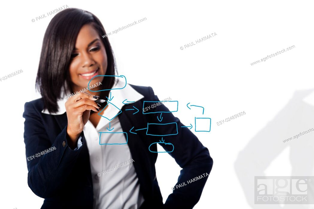 Stock Photo: Beautiful happy smiling business woman drawing concept flow chart consulting strategy.