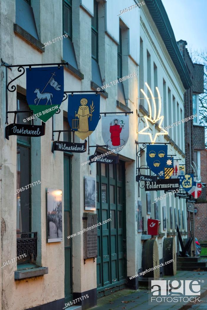 Stock Photo: Belgium, Antwerp-area, Lillo, final village left in the Antwerp Port area, the Poldermuseum, exterior.