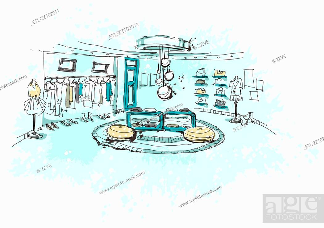 Stock Photo: Clothes showroom.