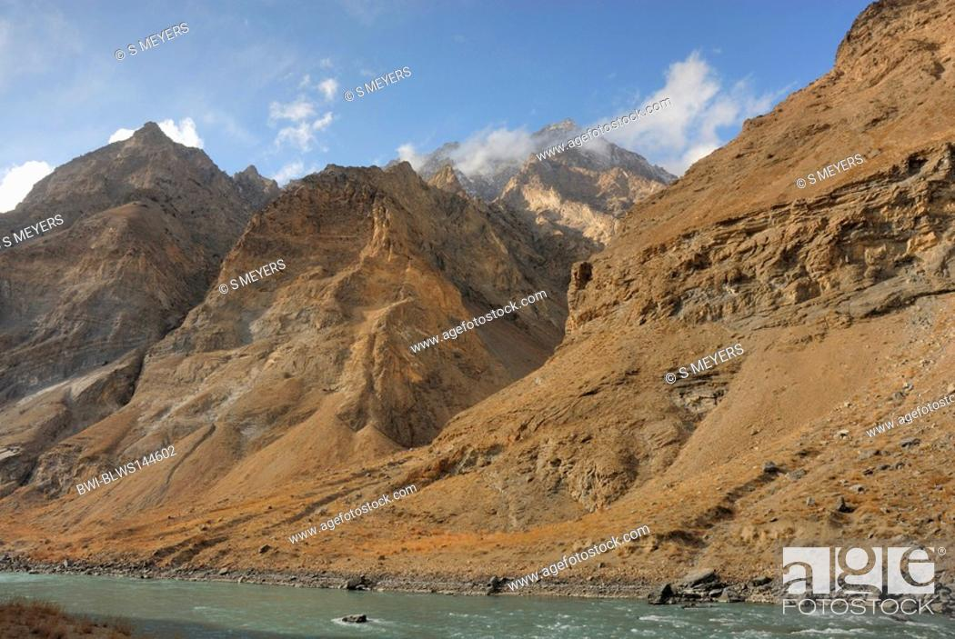Stock Photo: mountains landscape of Afghanistan near the frontier to Tadschikistan, Afghanistan, Pamir Mountains, Pamir Plateau.