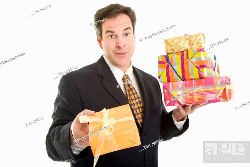 Mann, Manager, Business, Geschenke, schenken, Weihnachten ...