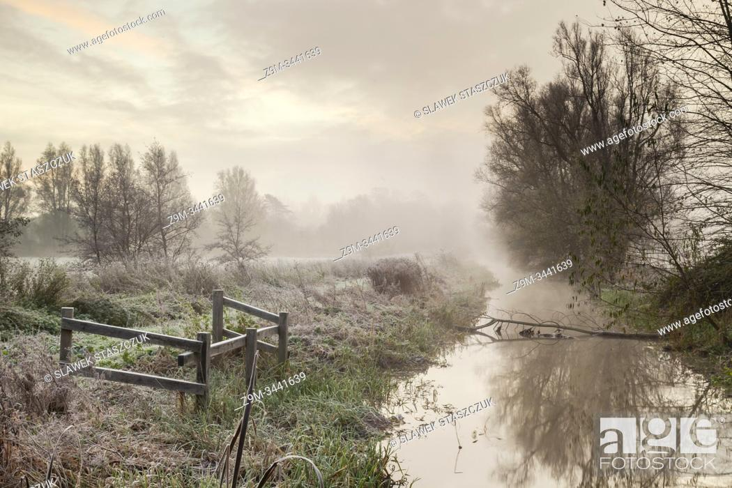 Stock Photo: Misty dawn on river Ouse in East Sussex, England.