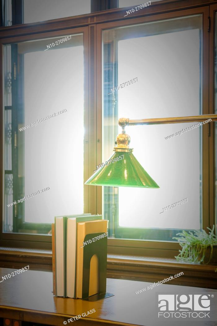 Stock Photo: Lamp and books in front of a window.