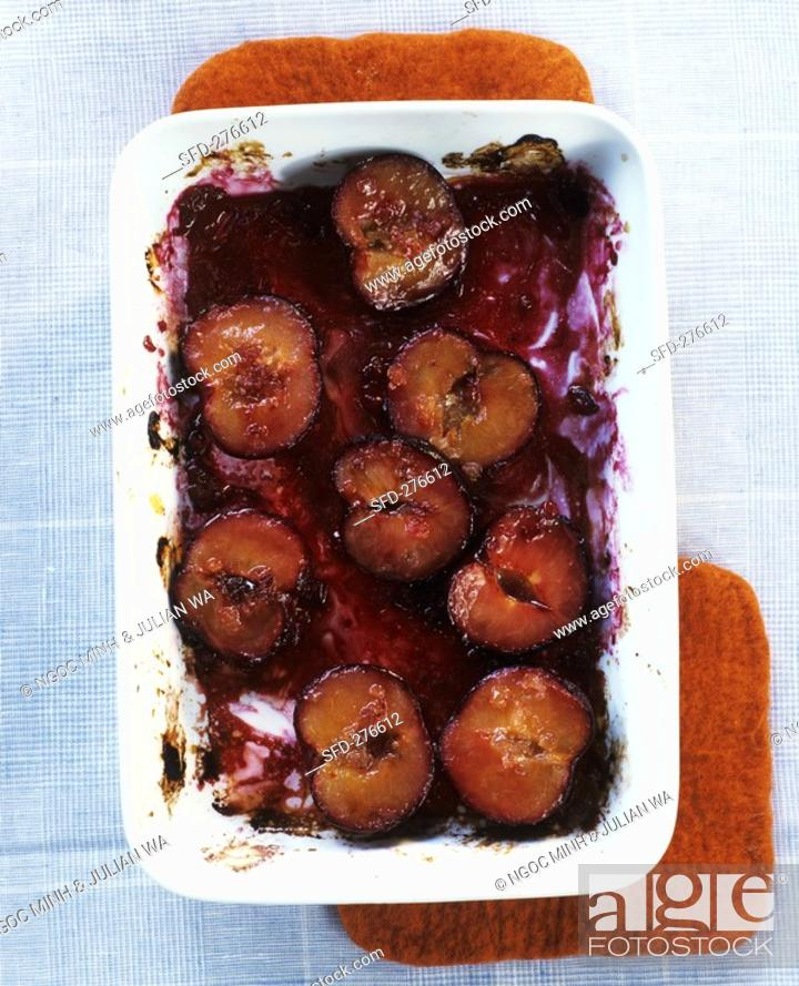 Stock Photo: Baked plums.