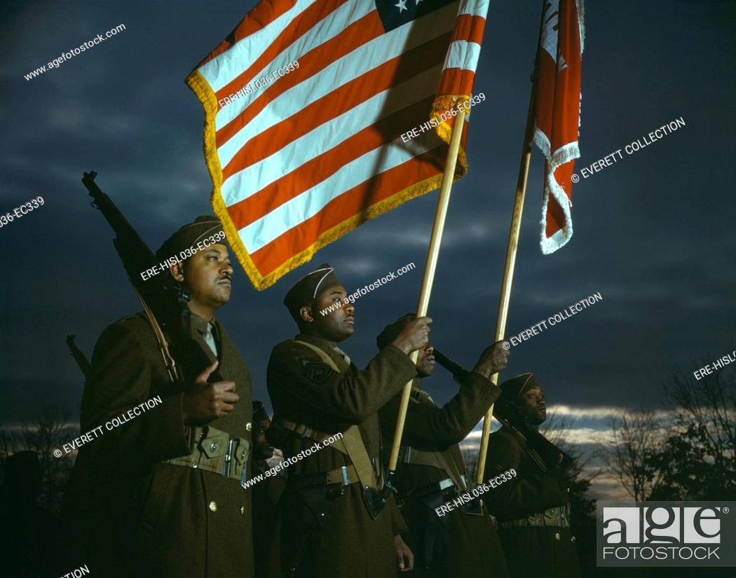 Color guard of African American engineers, Ft  Belvoir