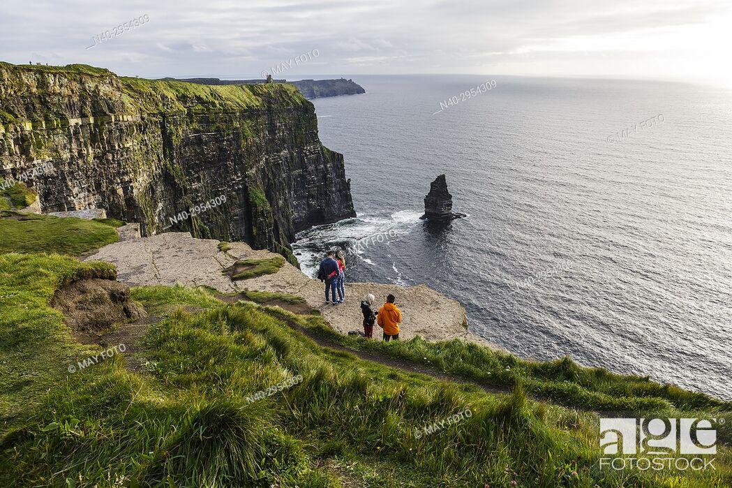 Stock Photo: Moher cliffs, Burren region, Ireland, Europe.