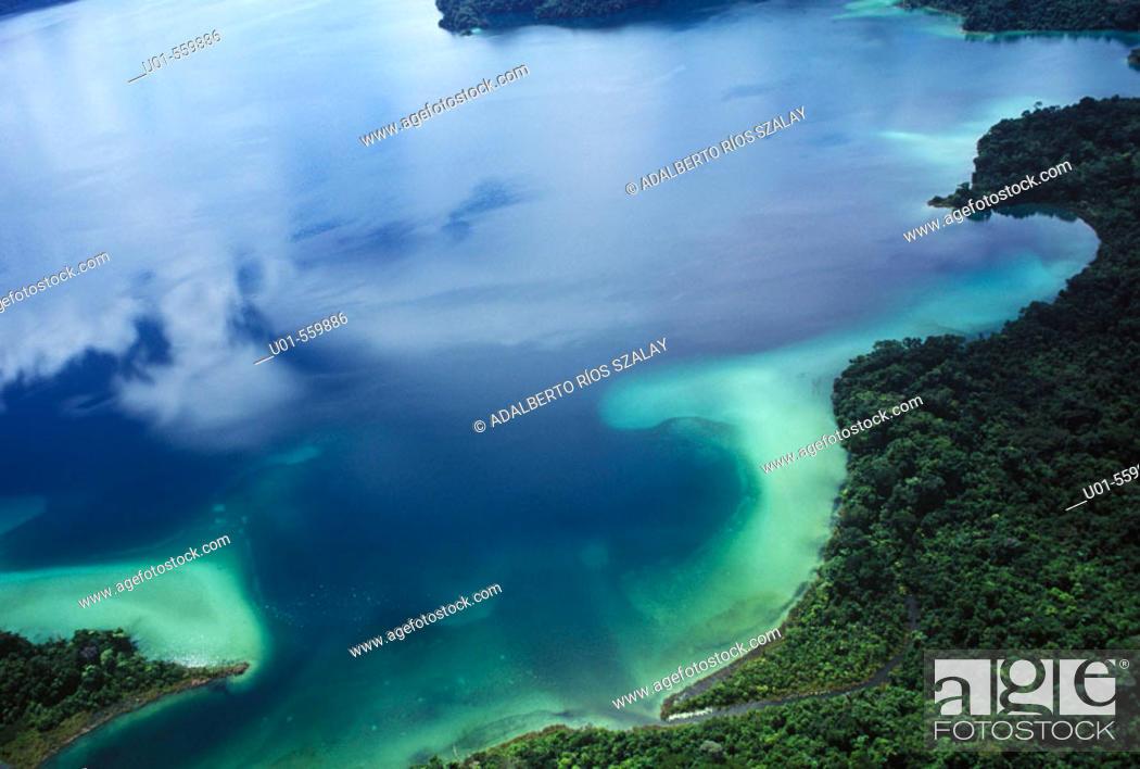 Stock Photo: Aerial View of Miramar Lagoon Mexico.