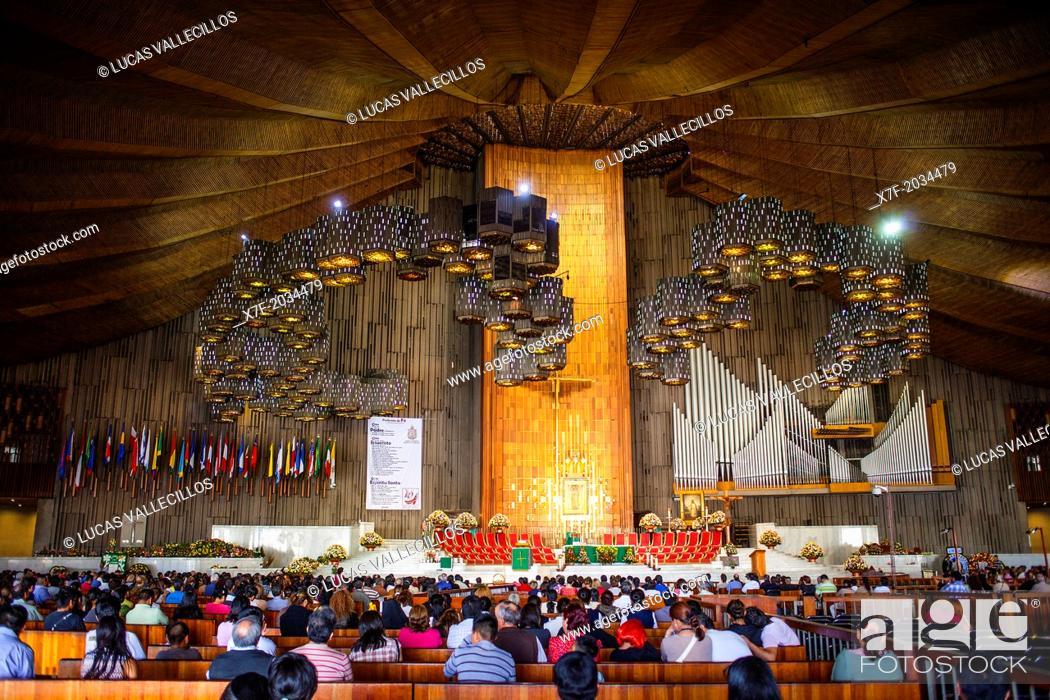Stock Photo: New Basilica de Nuestra Senora de Guadalupe, Our Lady of Guadalupe, Mexico City, Mexico.