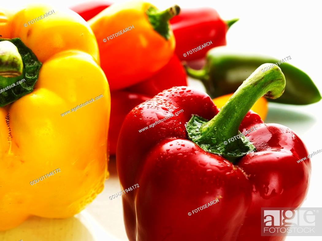 Stock Photo: food material, red, cuisine, food, yellow, paprika.