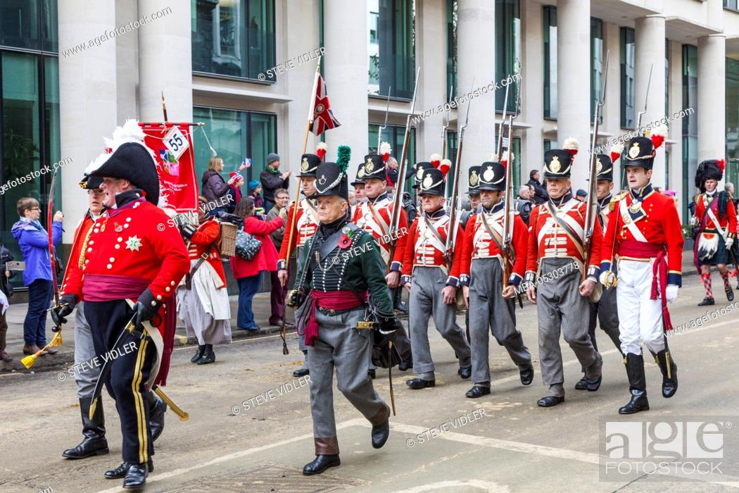 Stock Photo: England, London, The Lord Mayor's Show, Parade Group in Historical Military Uniform.