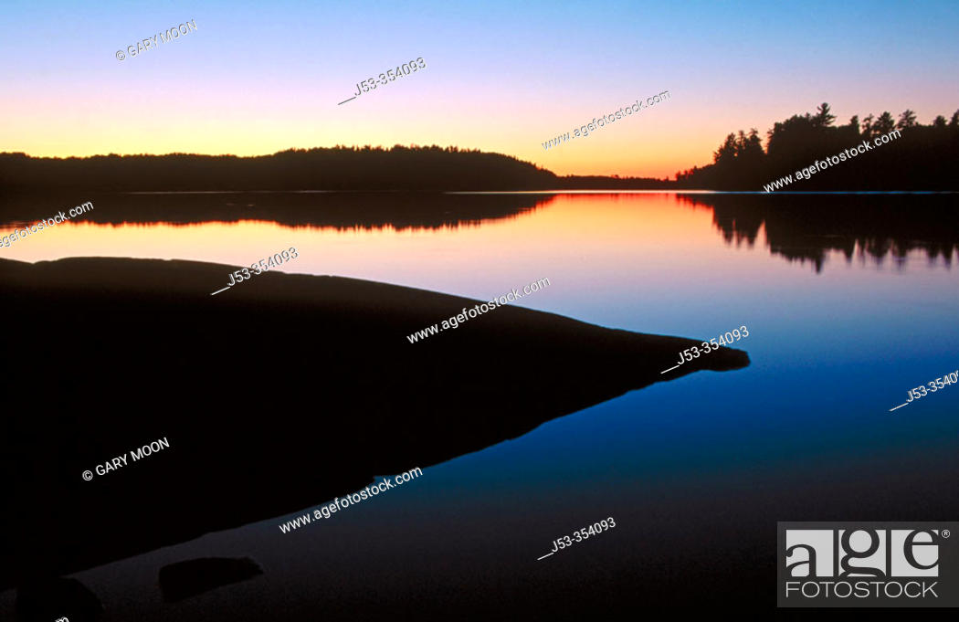 Stock Photo: Sunset, Lac La Croix, Boundary Waters Canoe Area Wilderness, Superior National Forest, Minnesota USA.