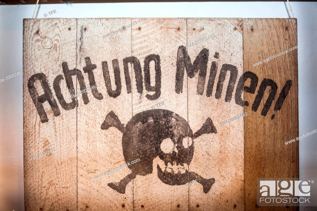 Stock Photo: United Kingdom, Channel Islands, Jersey, The Jersey War Tunnels, German Mine Warning Sign.