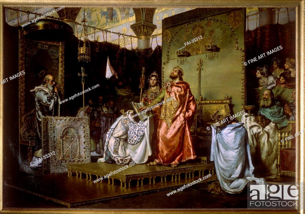 Stock Photo: Conversion of Reccared to Catholicism at the Council III of Toledo, 589 by Muñoz Degraín, Antonio (1840-1924)/Oil on canvas/History painting/1888/Spain/Palacio.