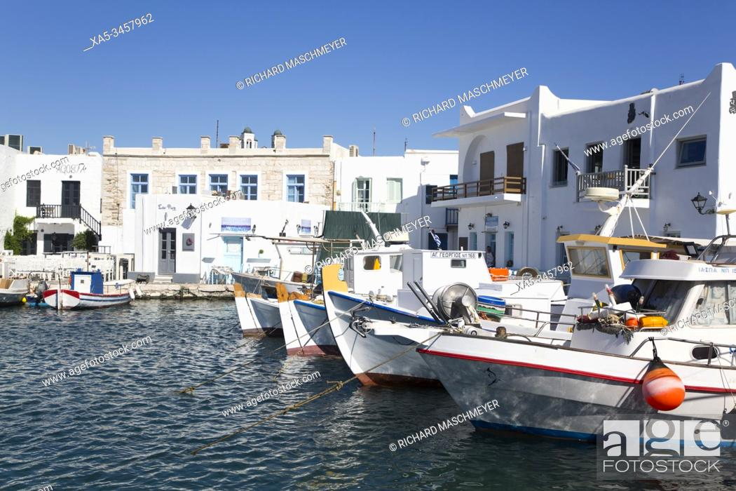 Stock Photo: Fishing Boats, Old Port of Naoussa, Paros Island, Cyclades Group, Greece.
