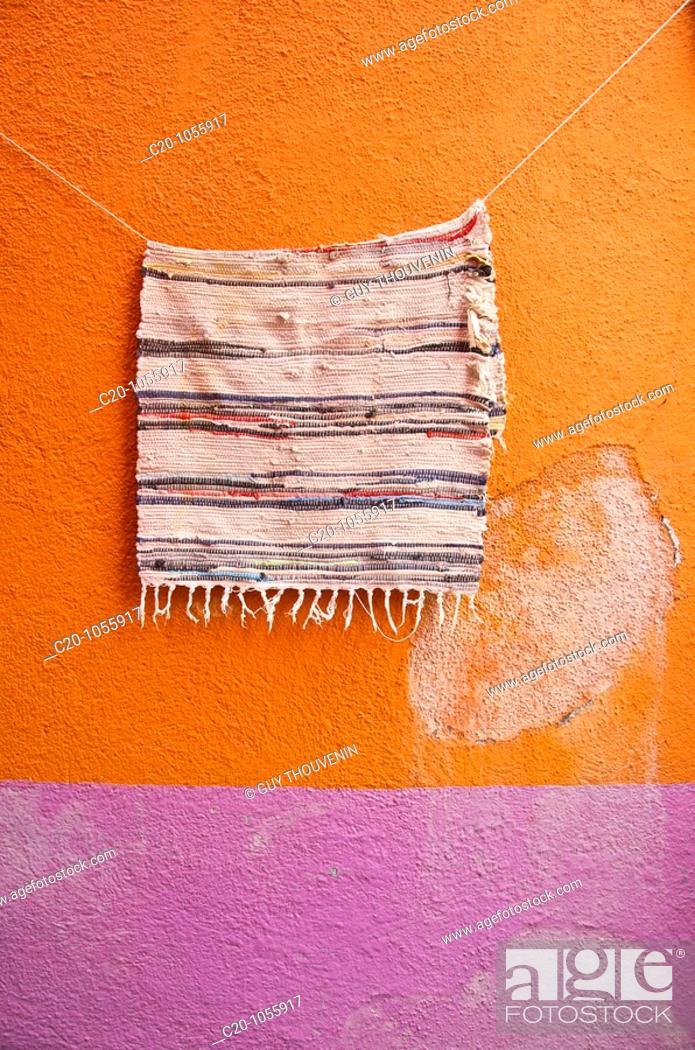 Stock Photo: wall and carpet in Burano island Venice Italy.