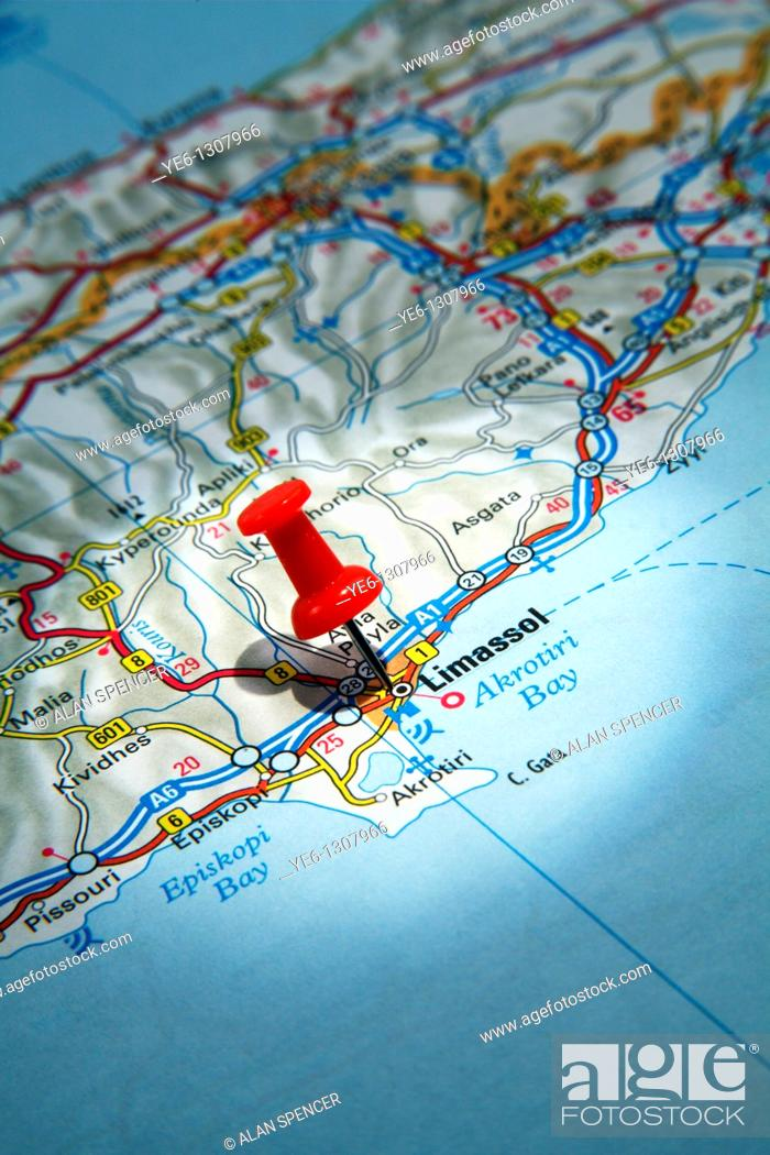 Map pin pointing to the city of limassol cyprus on a road map stock photo map pin pointing to the city of limassol cyprus on a road map gumiabroncs Images