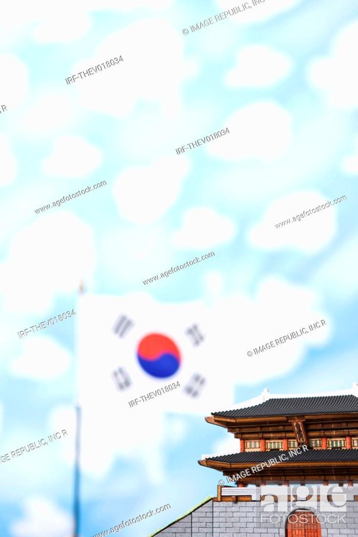 Stock Photo: wallpaper, Namdaemoon and Korean flag, Taegeukgi.