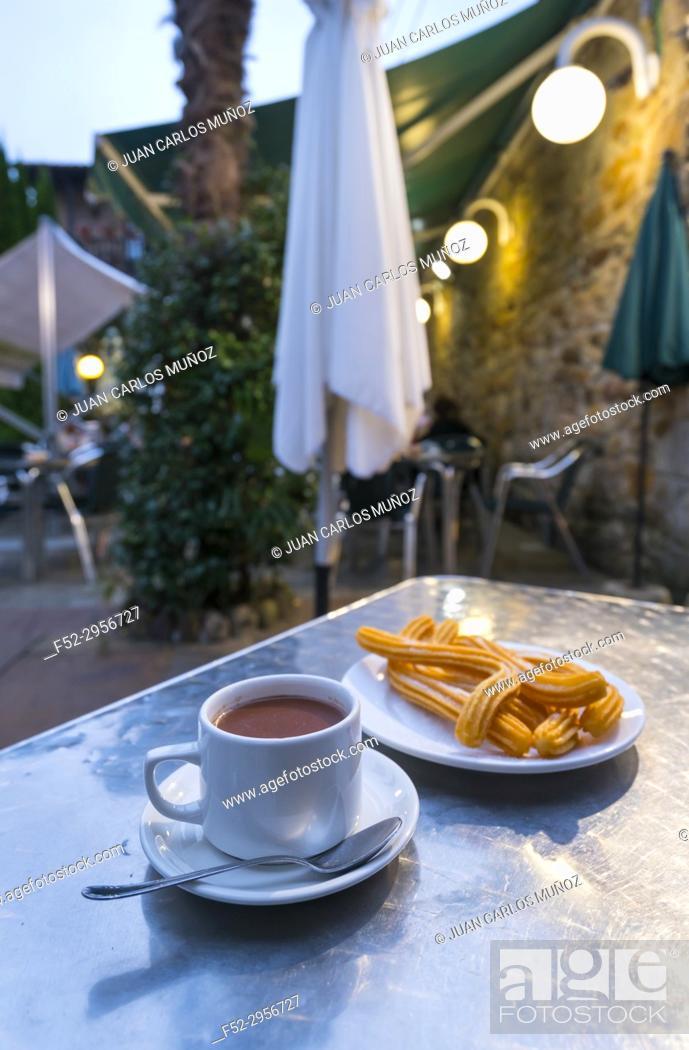 Stock Photo: Chocolate con Churros, Liérganes, Miera Valley, Valles Pasiegos, Cantabria, Spain, Europe.