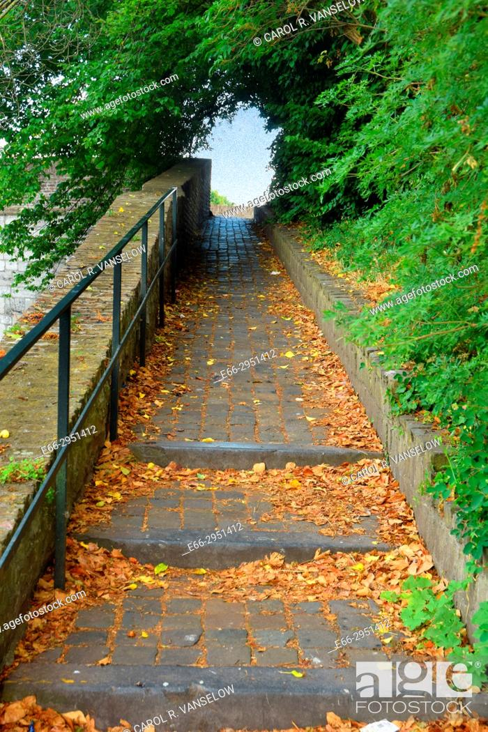 Stock Photo: Stairs leading up to one of the watch towers in the old wall fortress in Maastricht. Netherlands.