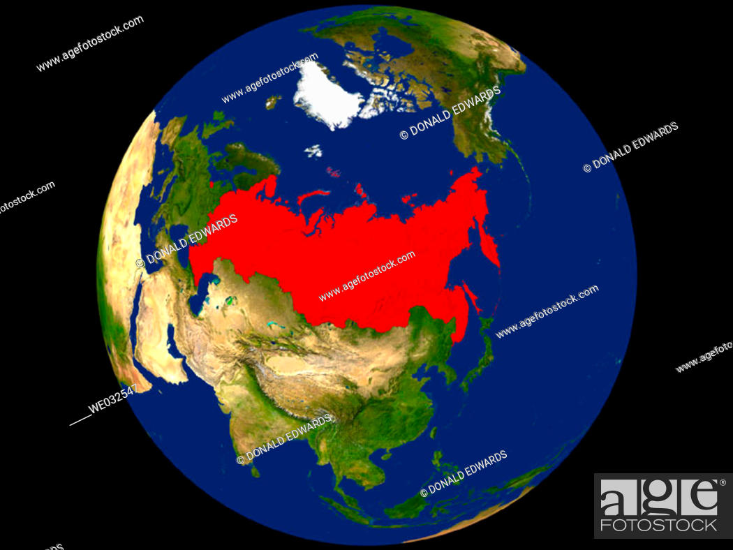 Stock Photo: Highlighted Satellite Image Of Russia.