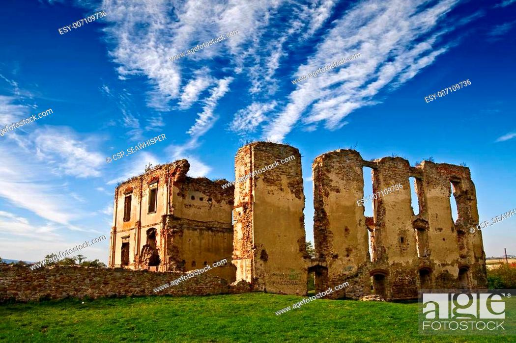 Stock Photo: Dark ages castle ruins in Poland.