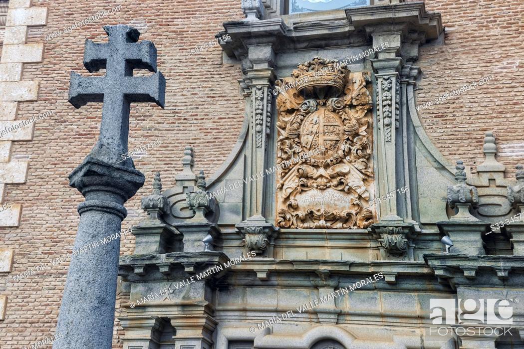 Stock Photo: Stone cross and heraldic shield on hermitage of Cristo del Valle. Toledo. Spain. Europe.