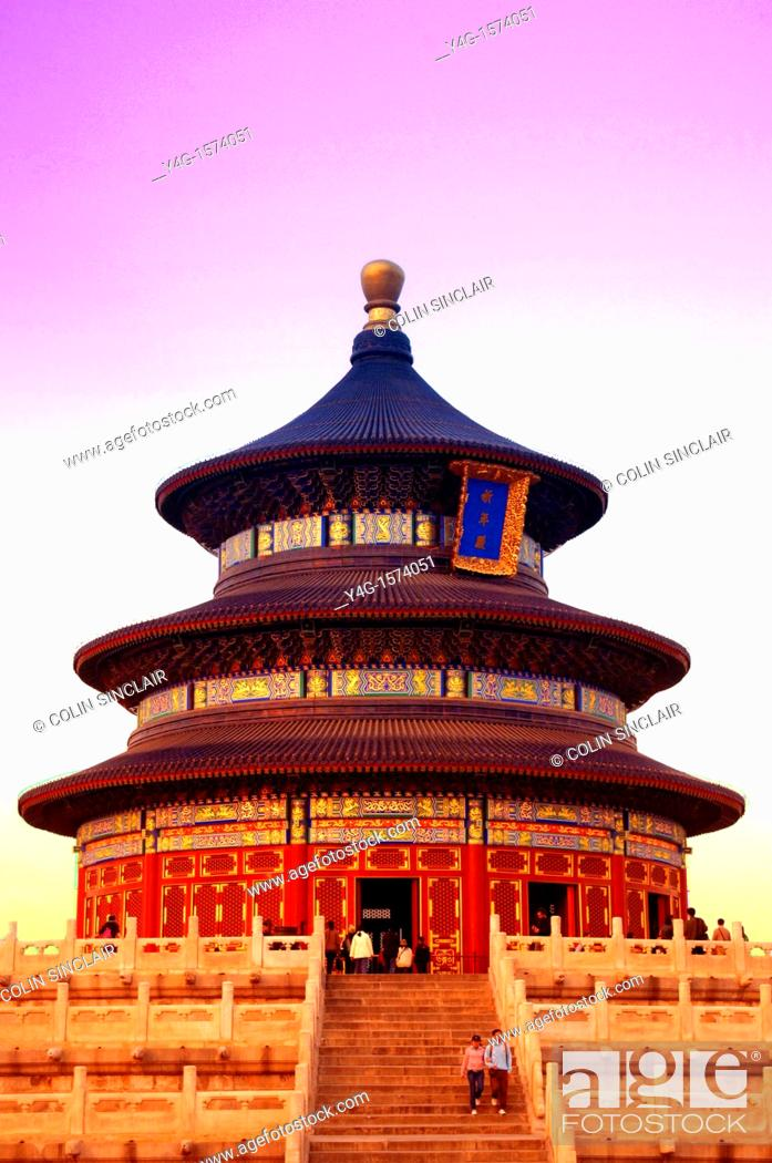 Stock Photo: Temple of Heaven, Beijing, with tourists.