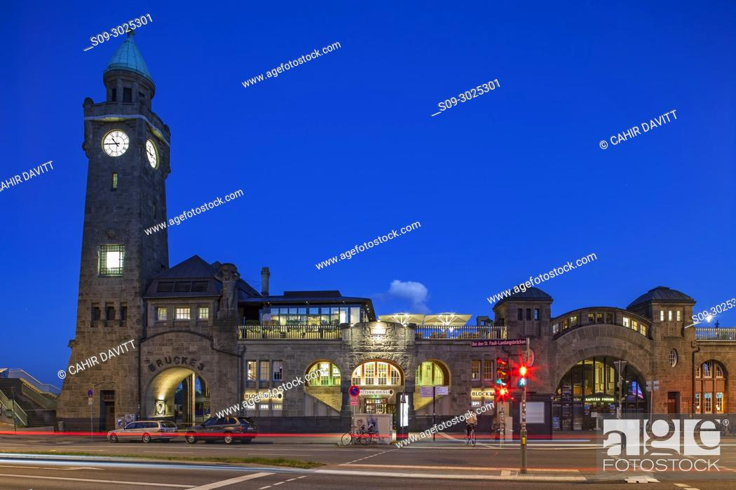 Stock Photo: The St. Pauli Landungsbrucken and Blockbrau at sunset, Brucke 4, Hamburg, Germany.