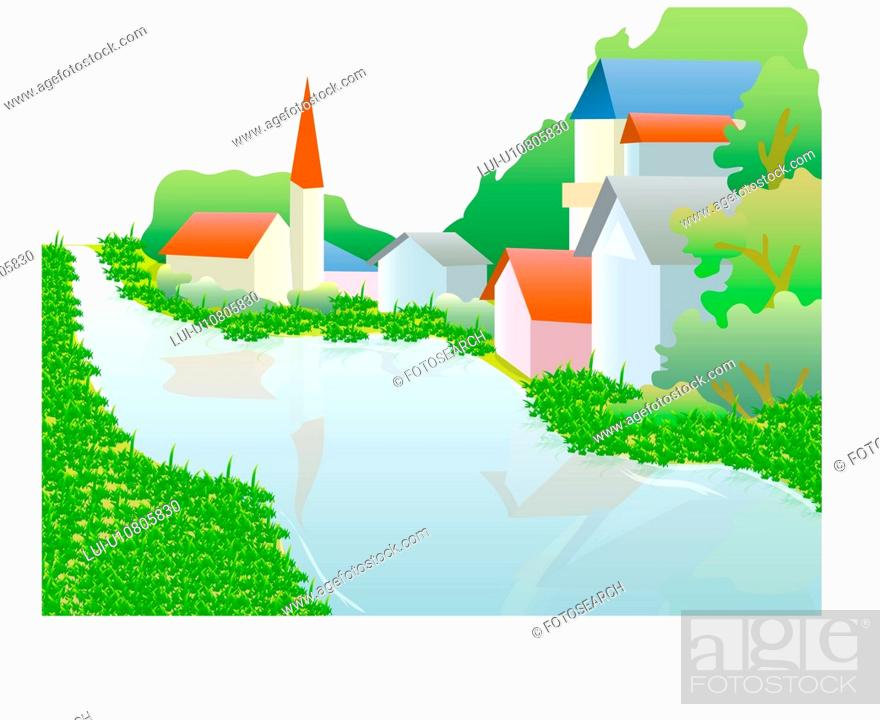 Stock Photo: village, nature, water, natural phenomena, scene, well being, river.