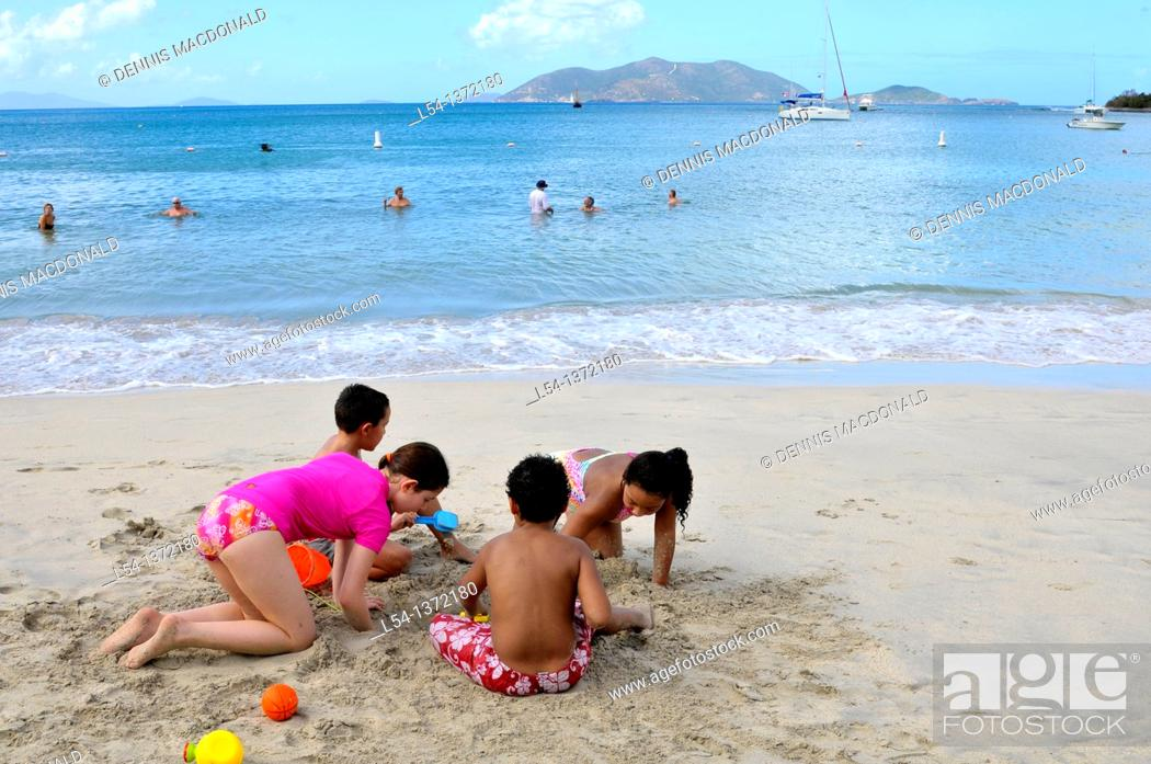 Stock Photo: Cane Garden Bay Beach Tortola BVI Caribbean Playing in Sand.