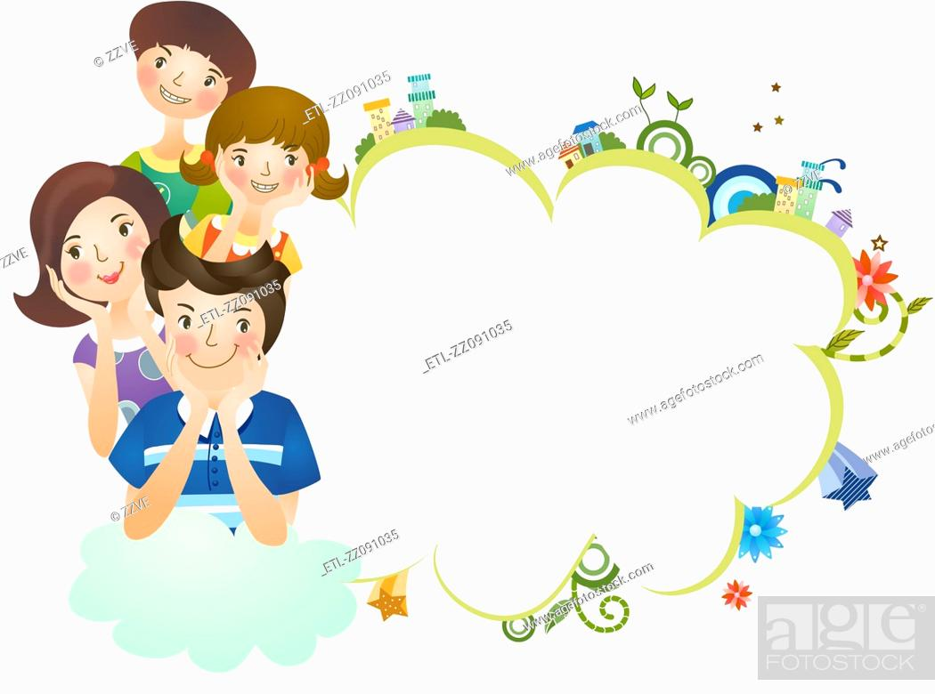 Stock Photo: Close-up of family with thought bubble.