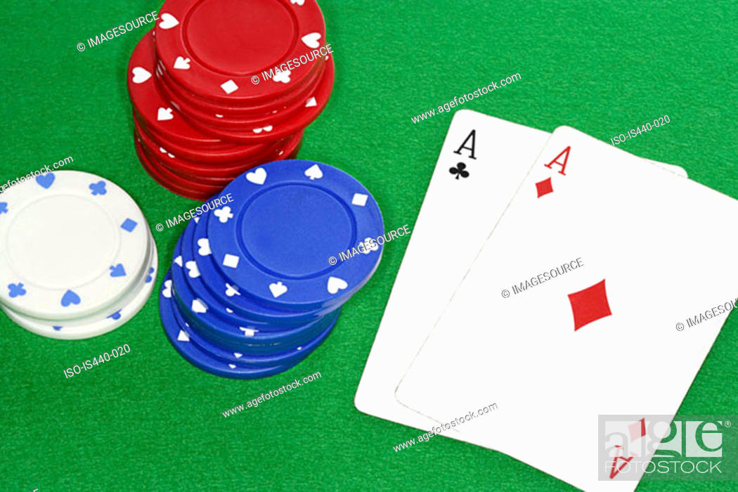 Stock Photo: Playing cards and gambling chips.