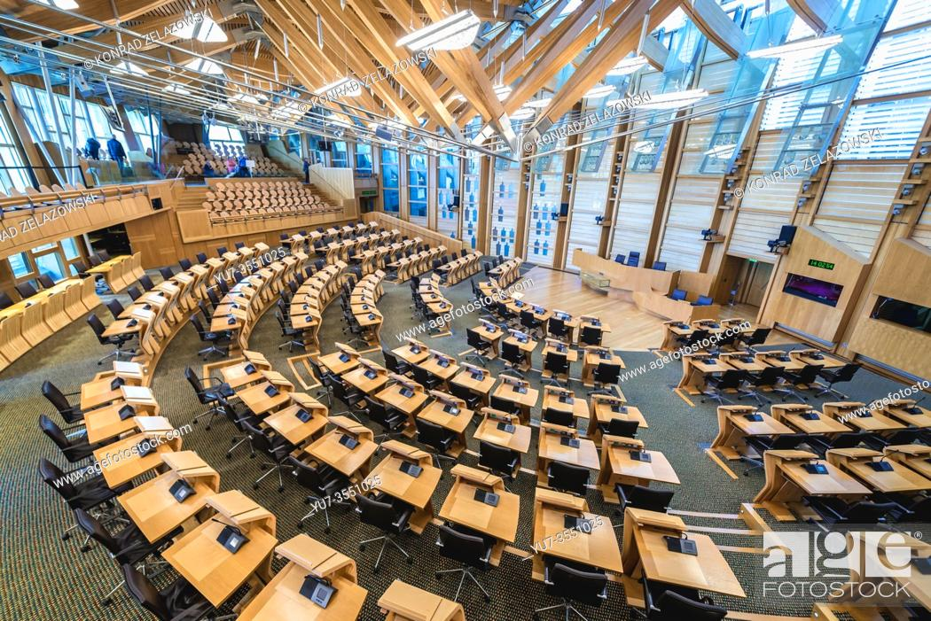 Photo de stock: Debating chamber of Scottish Parliament Building in Holyrood area of Edinburgh, capital of Scotland, part of United Kingdom.
