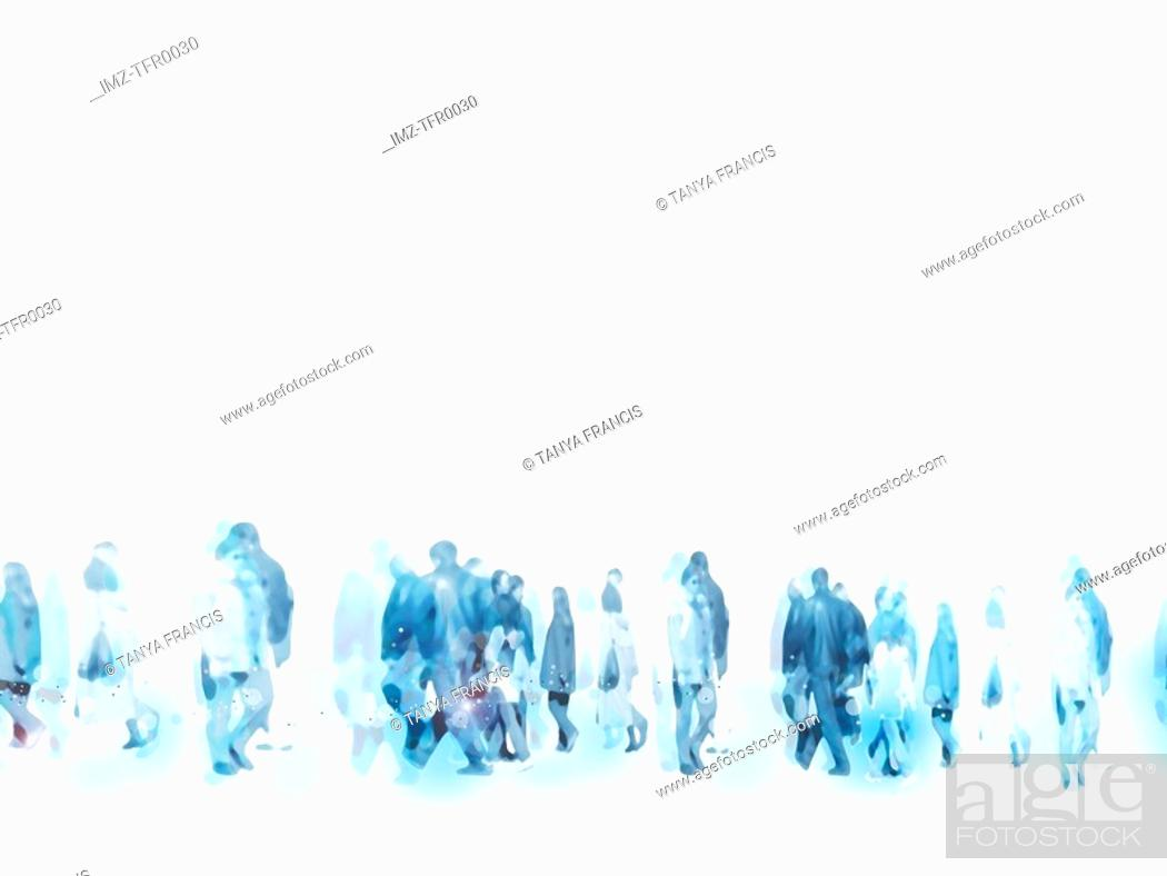Stock Photo: An illustration of urban people marching on the streets.